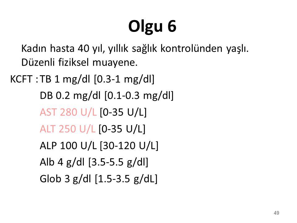 Olgu 6 Kadın hasta 40 yıl, yıllık sağlık kontrolünden yaşlı. Düzenli fiziksel muayene. KCFT : TB 1 mg/dl [0.3-1 mg/dl]